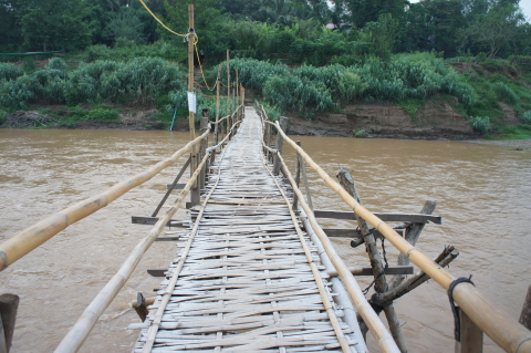 メコン川少し危なっかしい橋画像